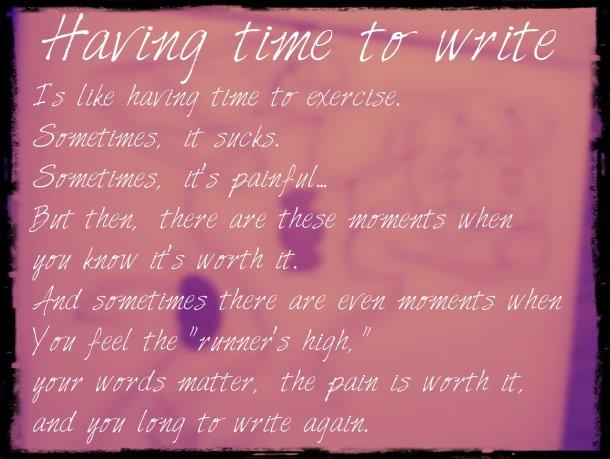 Having time to write